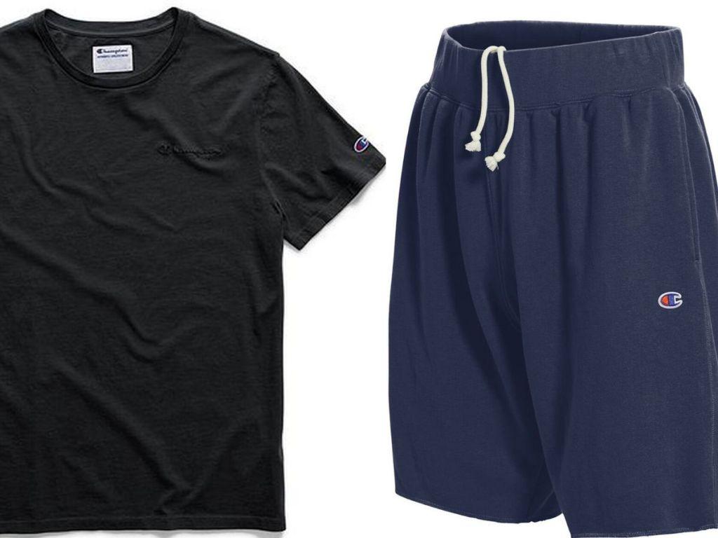champion short sleeve mens t-shirt and a pair of shorts