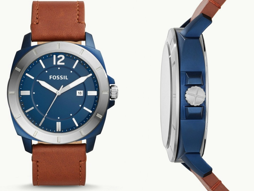 Men's leather watch with blue face front and side view