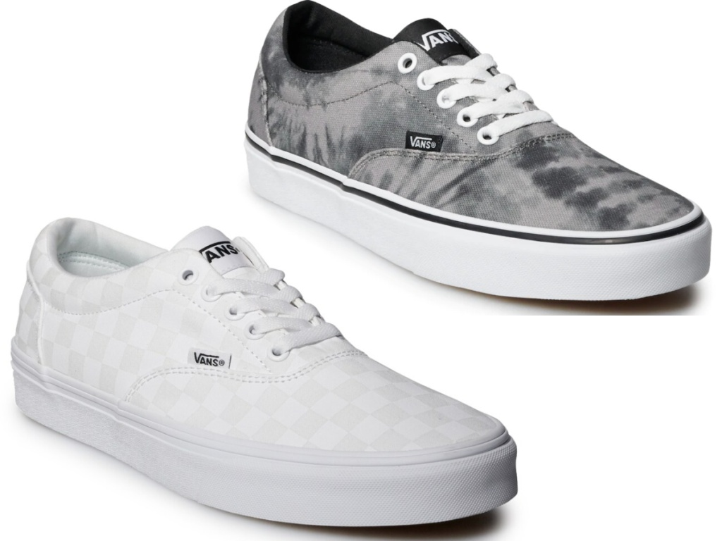 white pair and grey pair of mens van sneakers