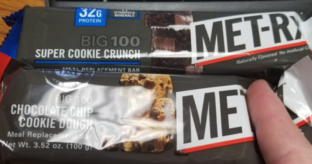two Met-rx bars super cookie crunch and chocolate chip cookie dough