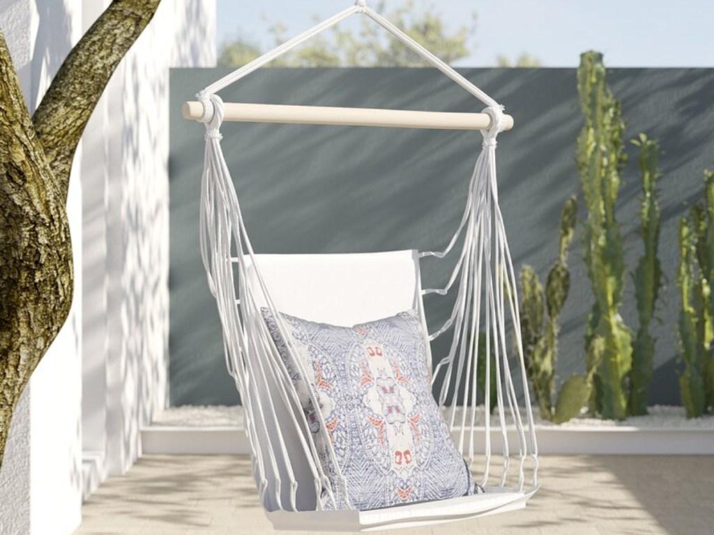 white hammock swing outside