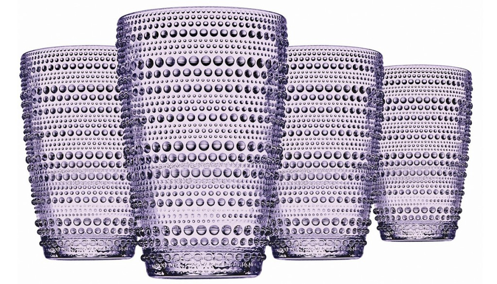 set of four purple glass tumblers with dot pattern