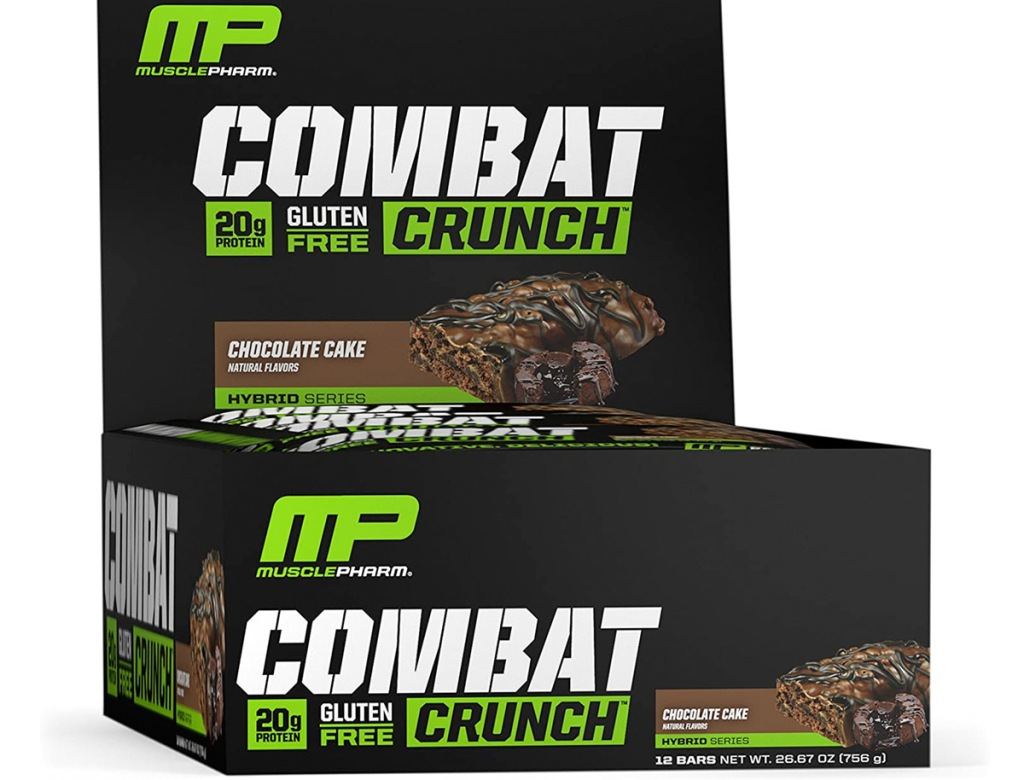 black box of 12 chocolate cake flavor musclepharm protein bars