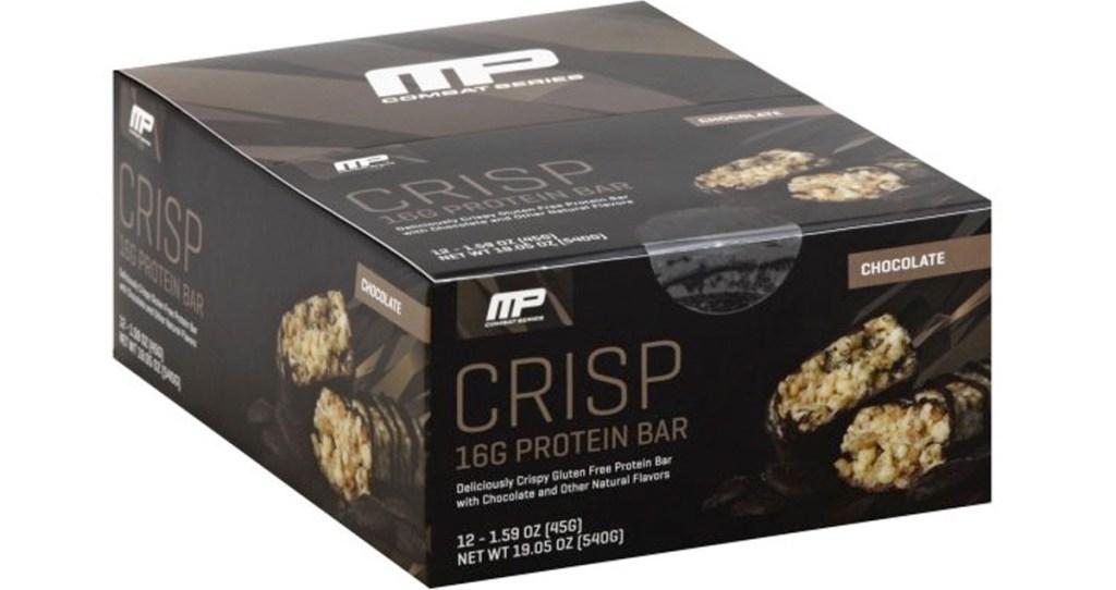 brown box of musclepharm chocolate crisp protein bars