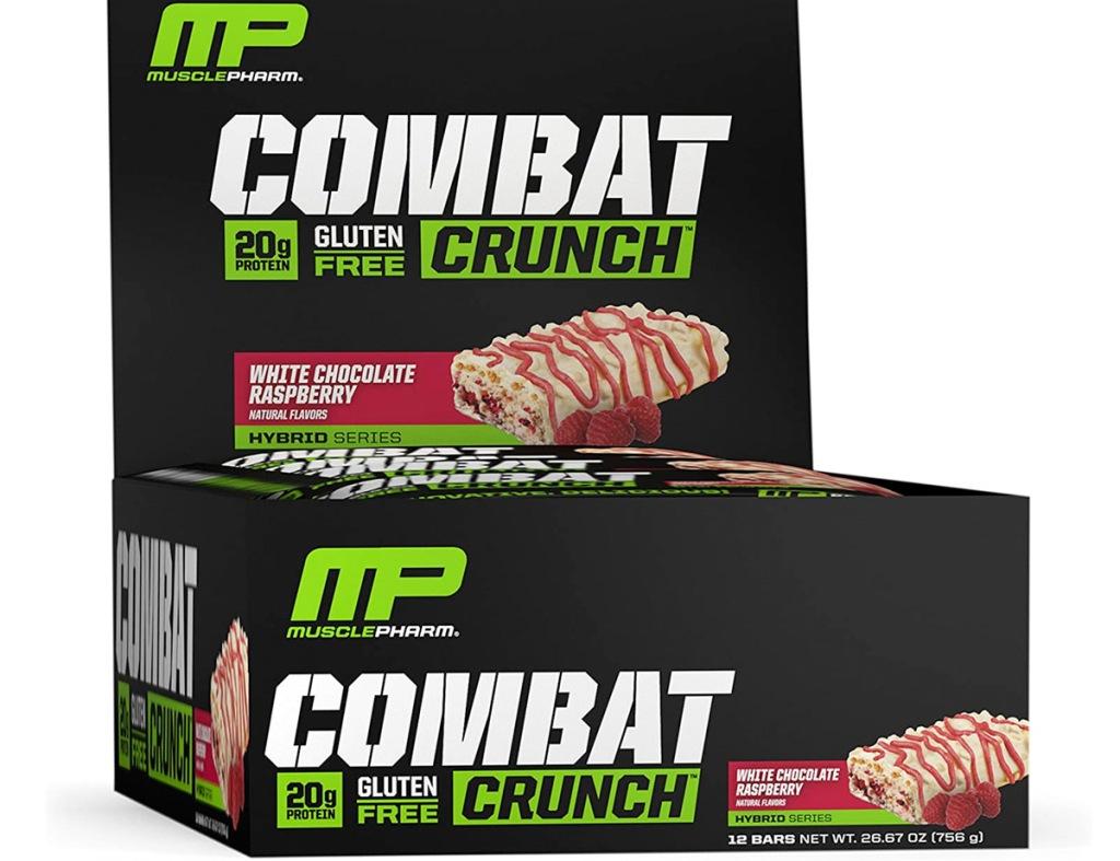 black box of 12 white chocolate raspberry flavored musclepharm protein bars