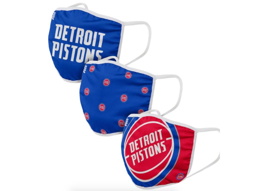 3 Detroit Pistons NBA face masks