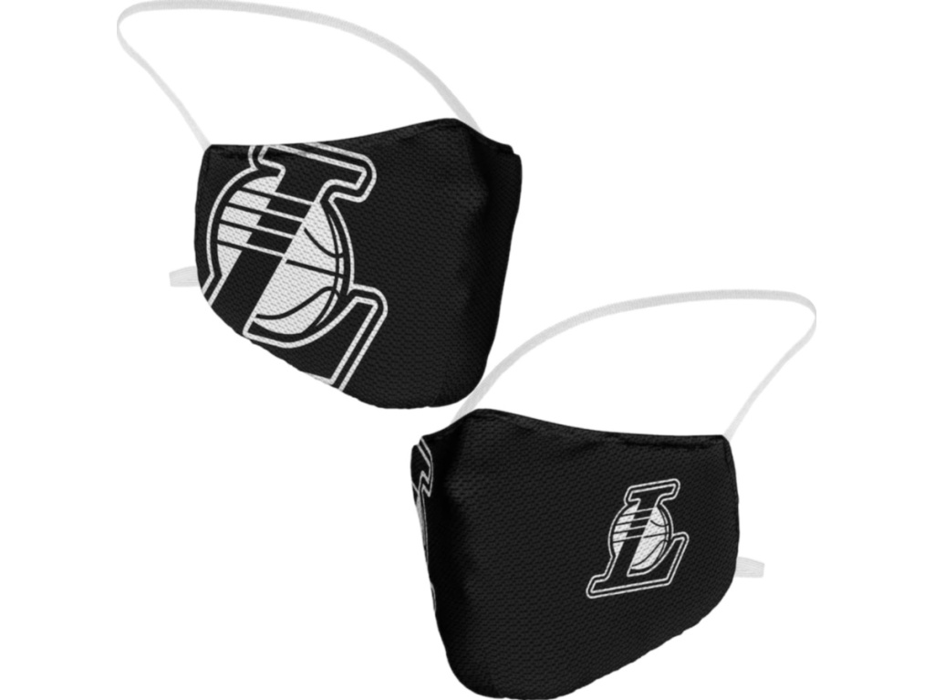 2 lakers black and white nba face masks