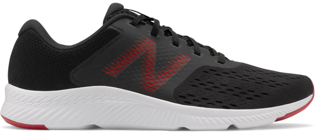 mens black running shoe with red accents and white sole