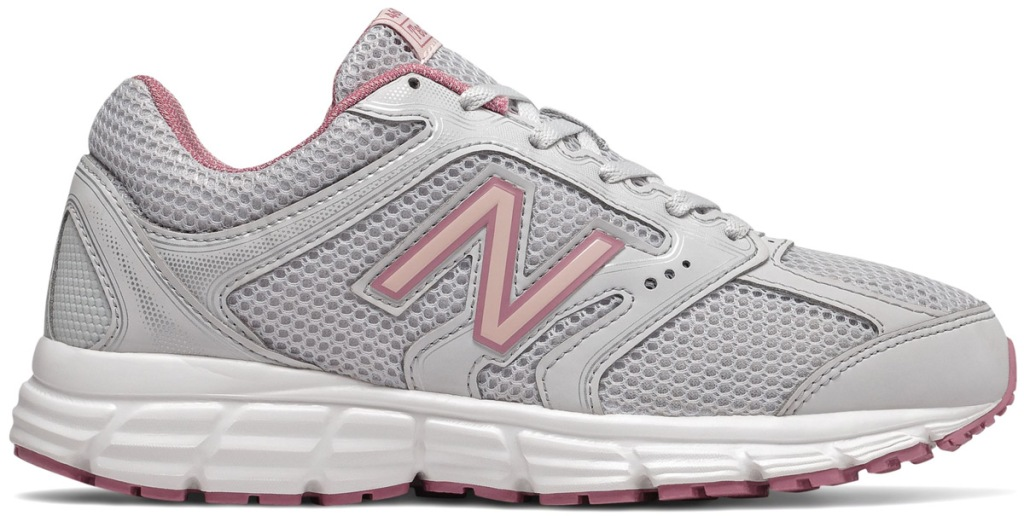 light grey new balance running shoe with light pink accents