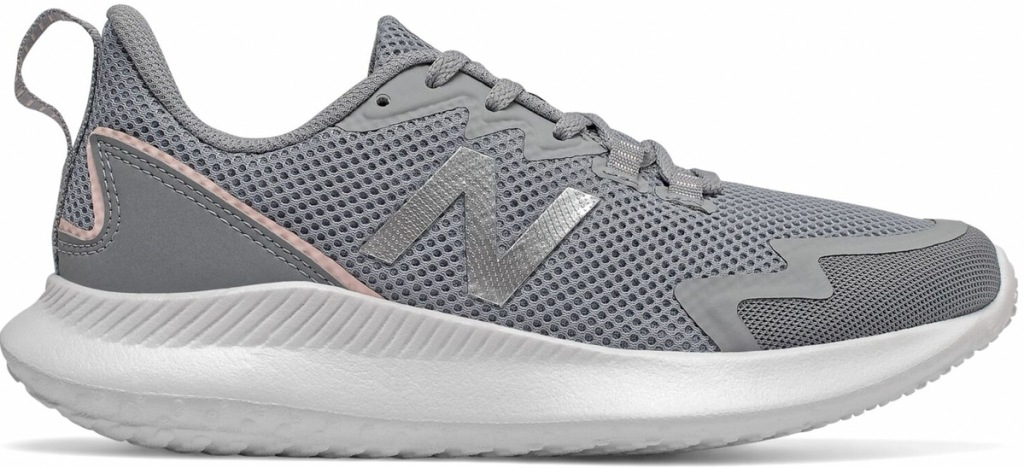 grey mesh new balance running shoe with white sole