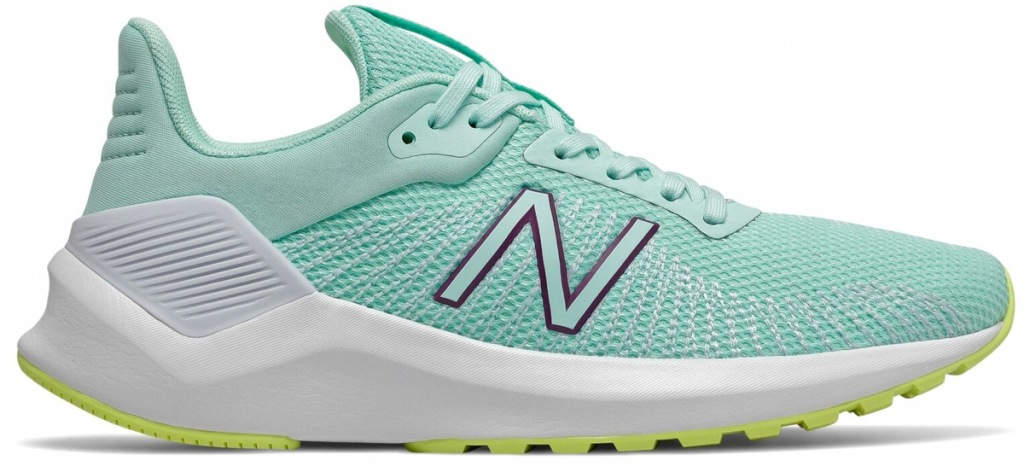 teal colored mesh new balance running shoe with white sole