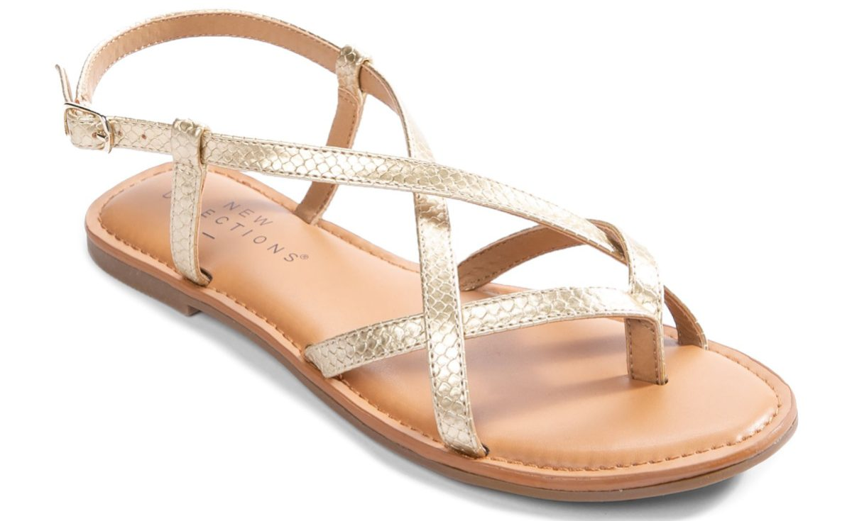 women's metallic strappy sandal