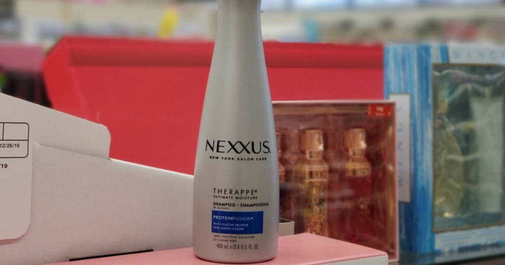 bottle of Nexxus Shampoo