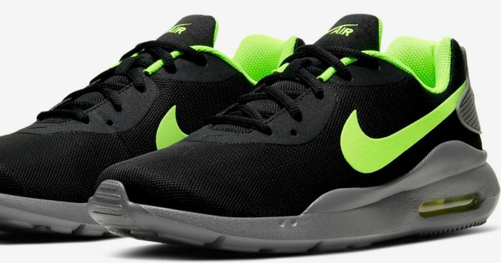 men's black sneakers with green nike swoosh
