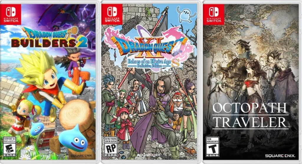 three video game covers for Nintendo Switch