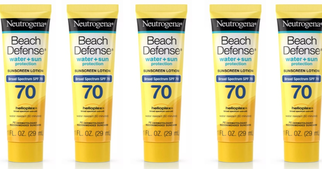 small bottles of Neutrogena beach defense sunscreen lined up next to each other