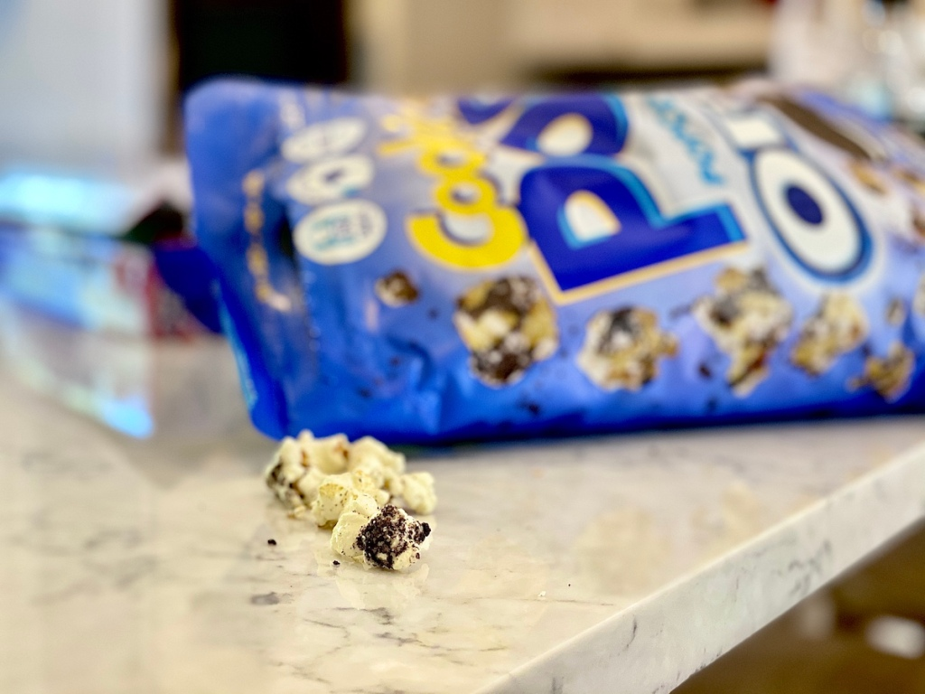 OREO Popcorn on counter