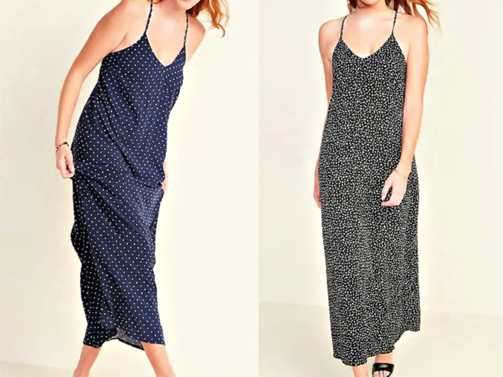 Old Navy V-Neck Maxi Dresses on models