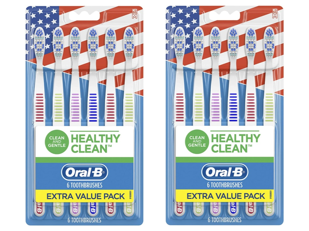 two packs of six toothbrushes