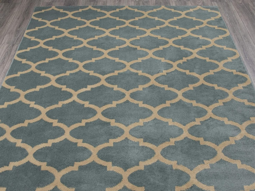 green and cream trellis patterned area rug on floor in home