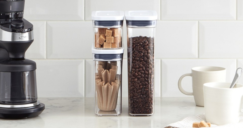 Oxo Food Storage Containers sitting on a kitchen counter