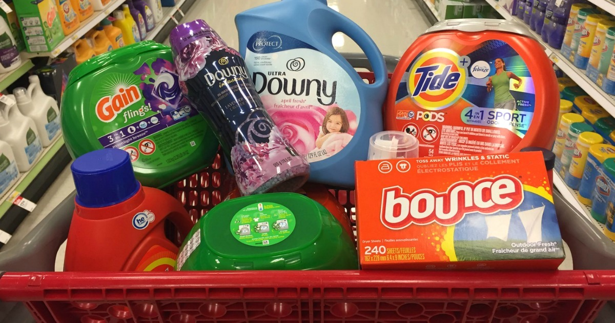 target cart filled with P&G laundry products