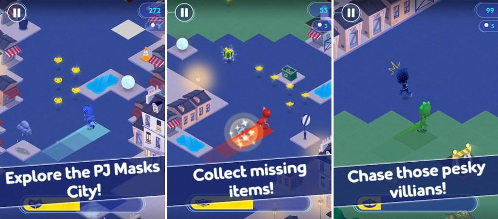 three screenshots from the pj masks super run city game app