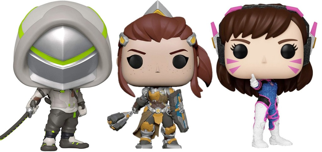 three funko pop figurines from the overwatch video game