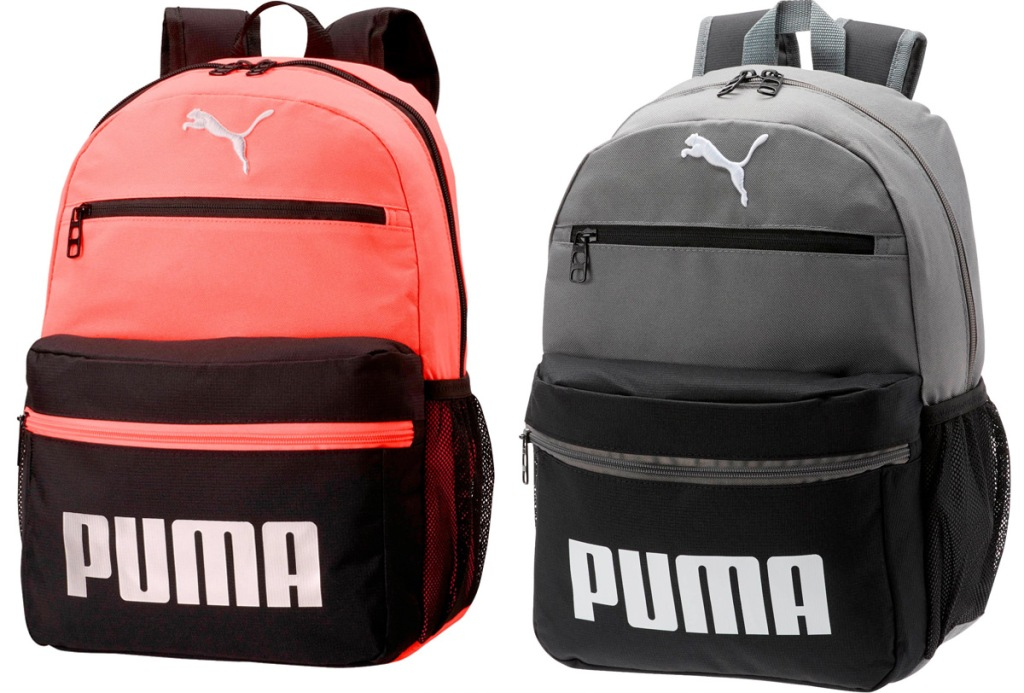 two puma backpacks in bright orange and black and grey and black color combinations