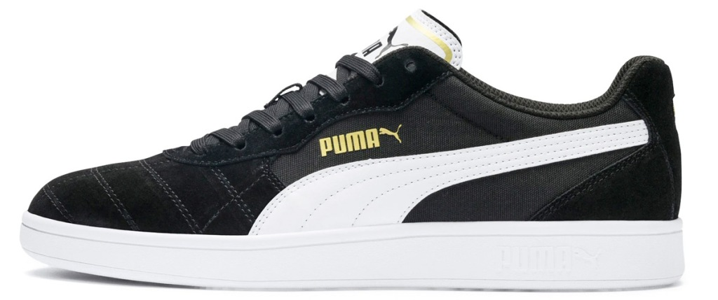 black sneaker with white puma logo on side and white sole