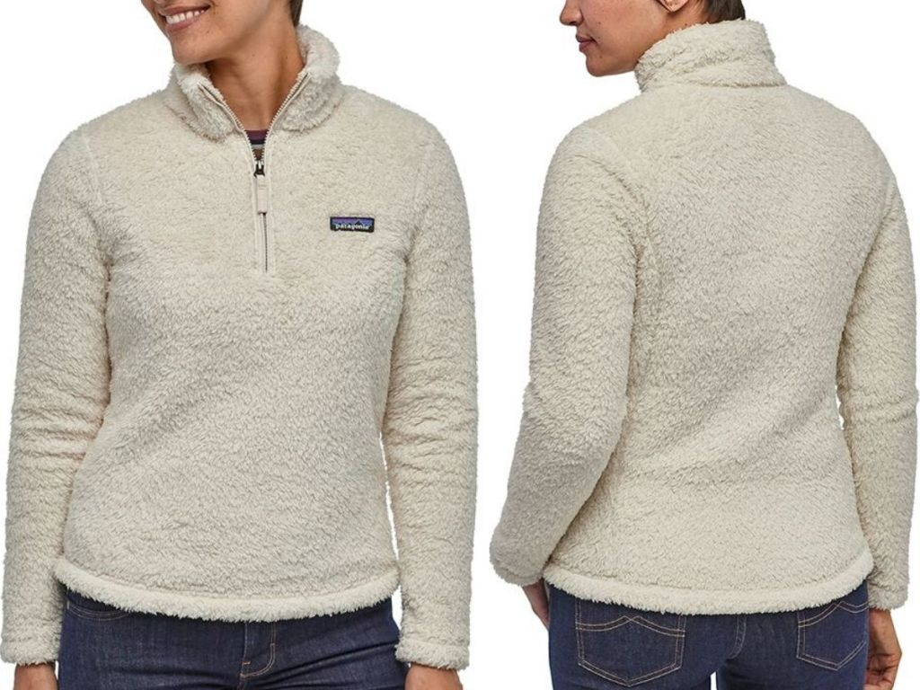 front and back view of woman wearing fleece quarter zip jacket