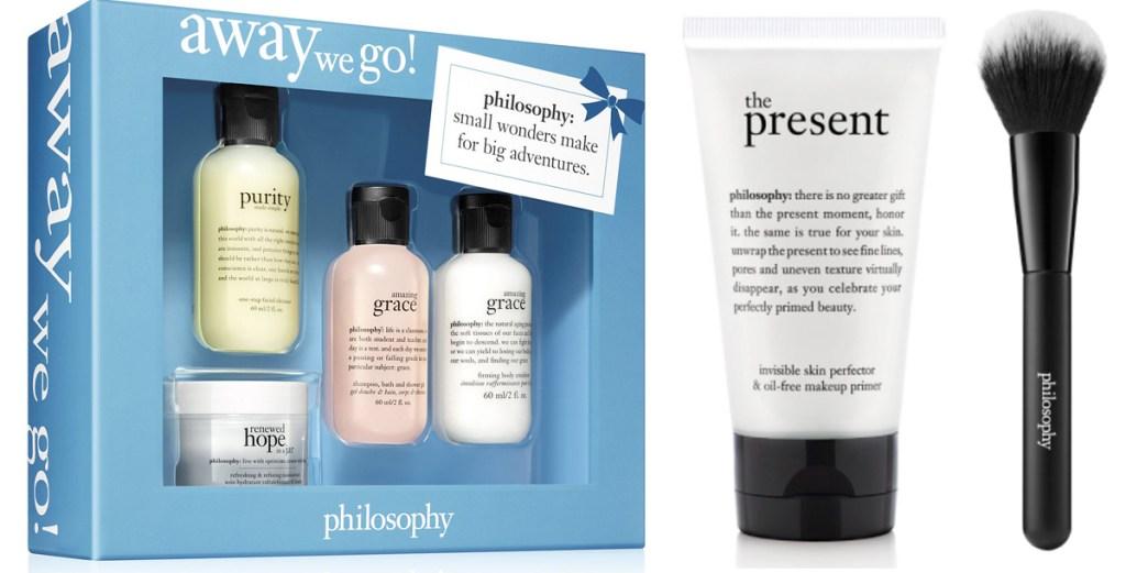 philosphy travel size gift set, makeup primer, and black makeup brush