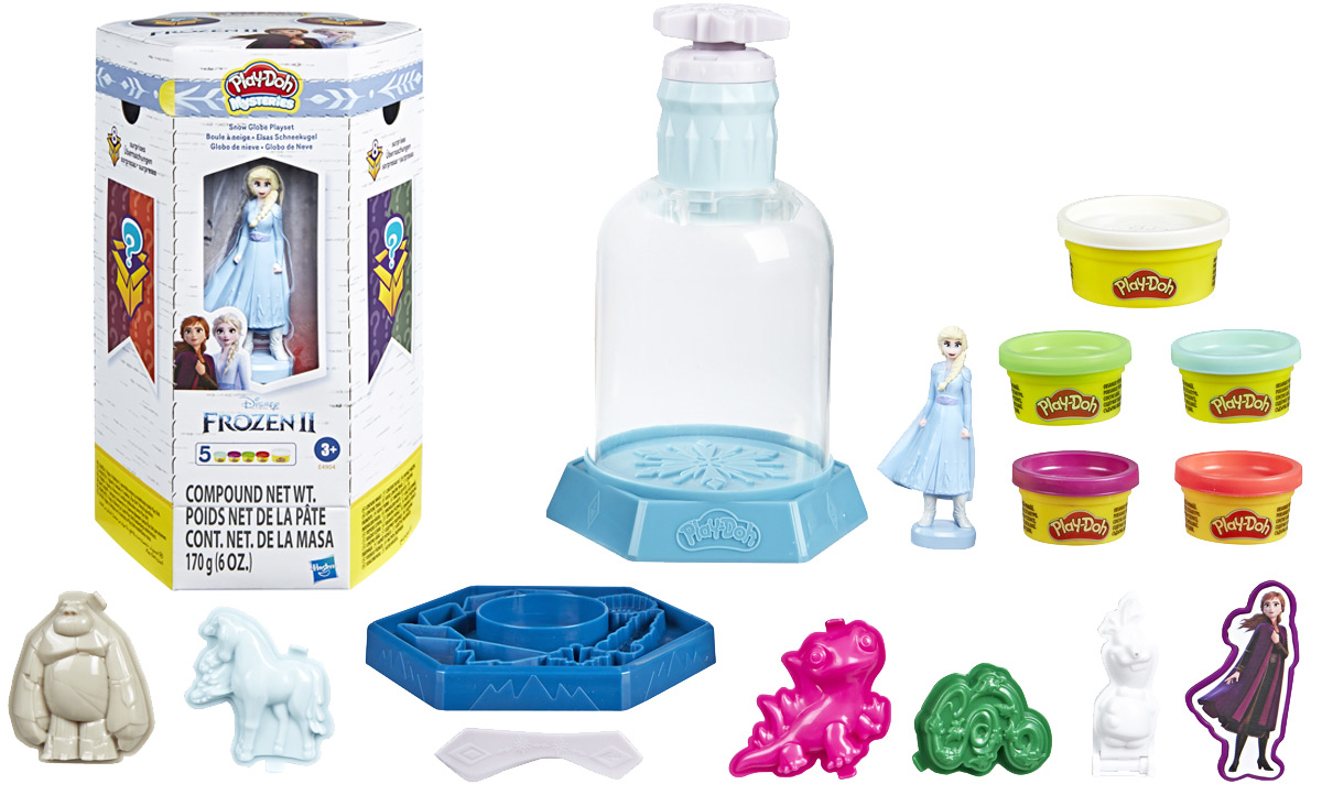 play-doh frozen 2 elsa set with 5 cans of play-doh, toys, and snow globe