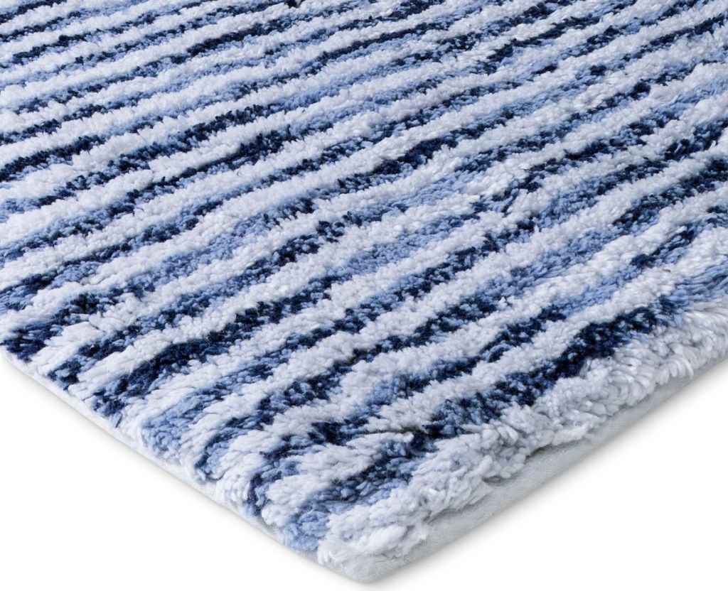 edge of a blue and white rug