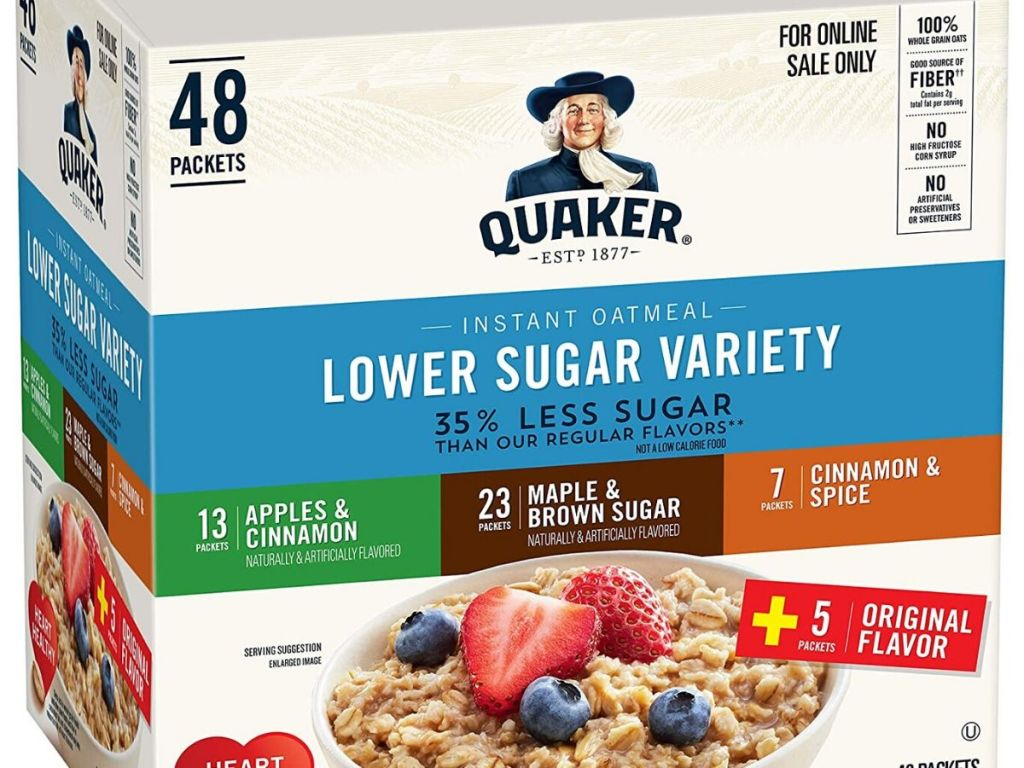 48 count box of Quaker Lower Sugar Oatmeal