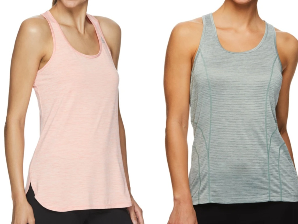 two women wearing reebok tank tops in different colors
