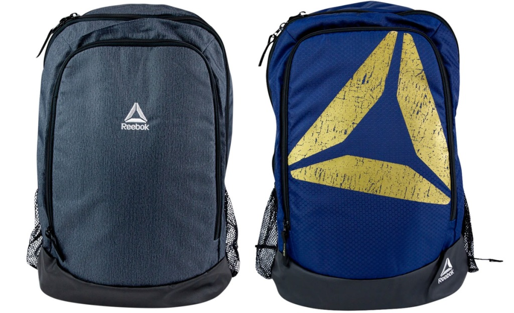 two reebok backpacks in grey and navy blue with gold reebok logo