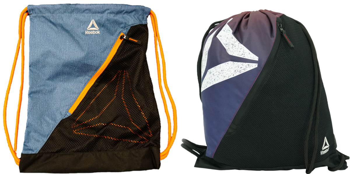 Two colors of cinch sack bags with Reebok symbol