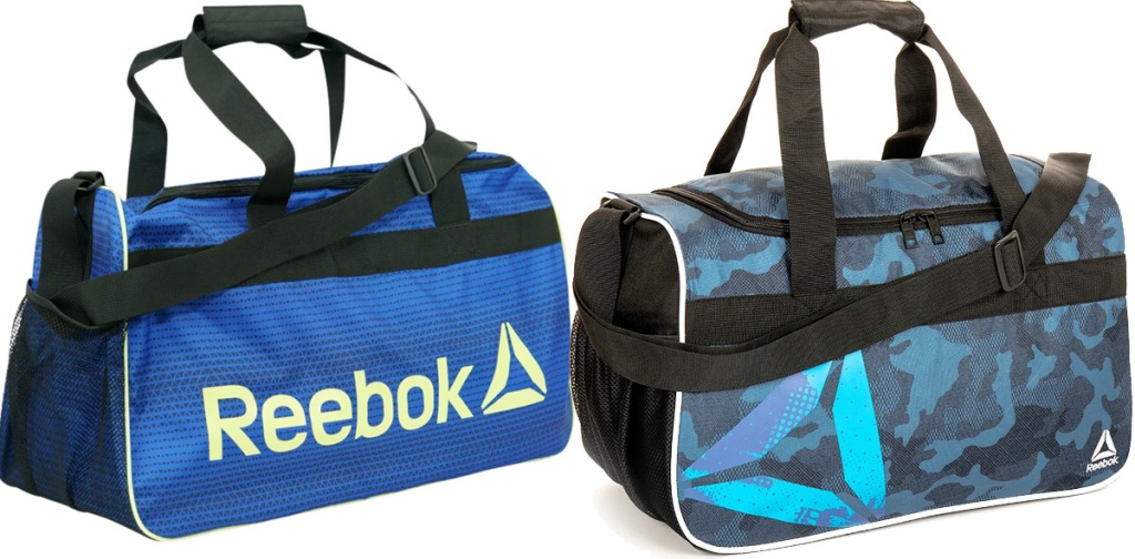 two blue and black duffle bags with reebok logos printed on front