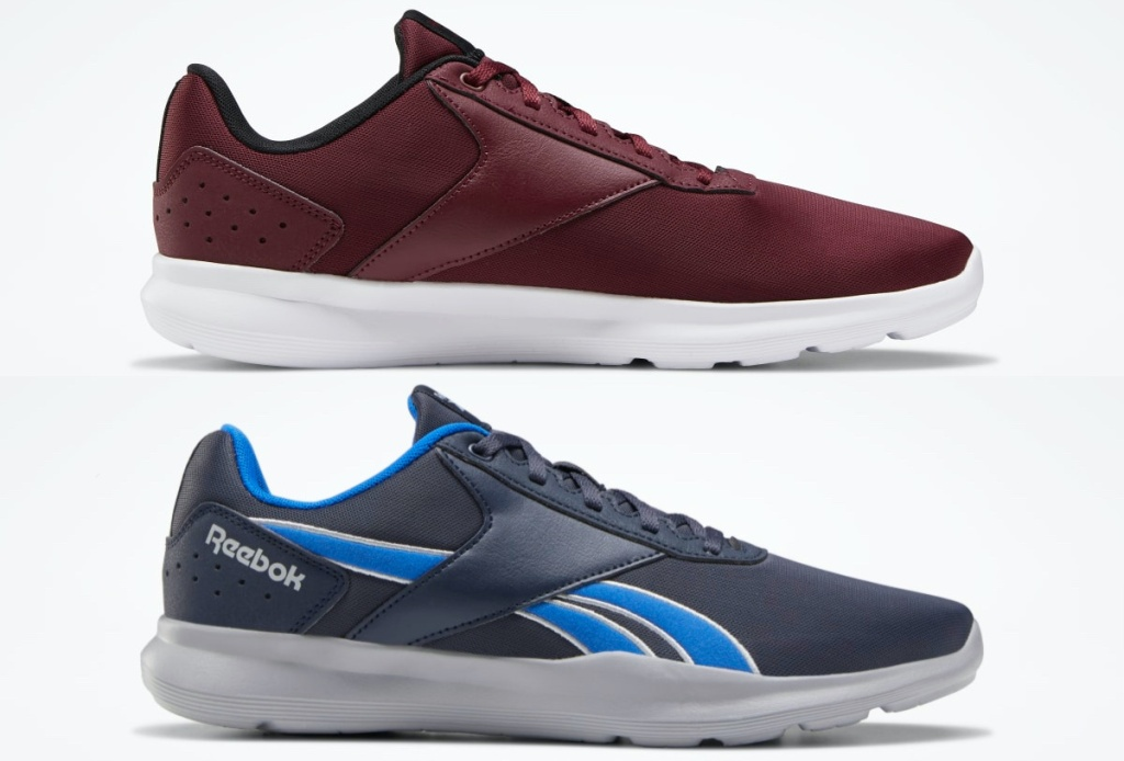 men's maroon sneaker and men's blue sneaker