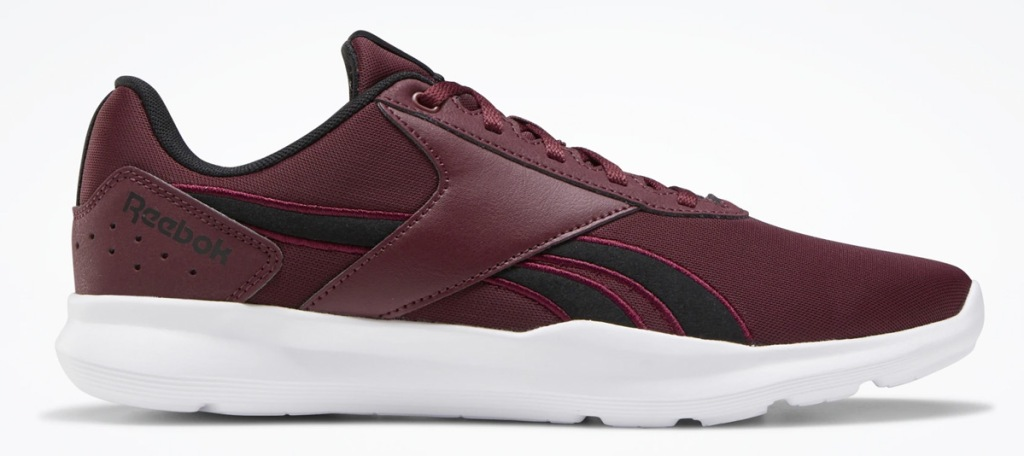 maroon and black reebok shoe with white sole