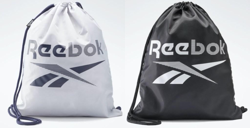 silver logo gym cinch bag and black logo gym cinch bag