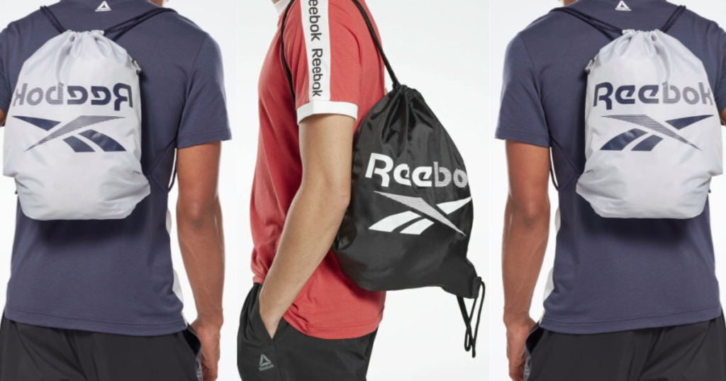 man in red shirt with black logo gym bag and two men in blue top with silver logo gym bag