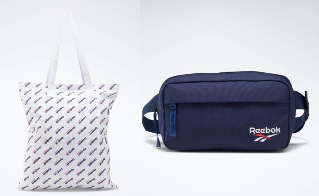 white logo shopper bag and navy logo waistbag