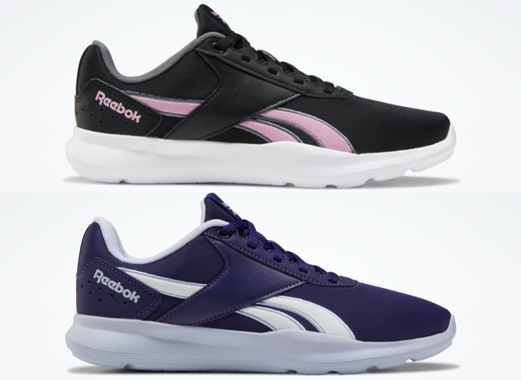 women's black and pink sneaker and women's white and purple sneaker