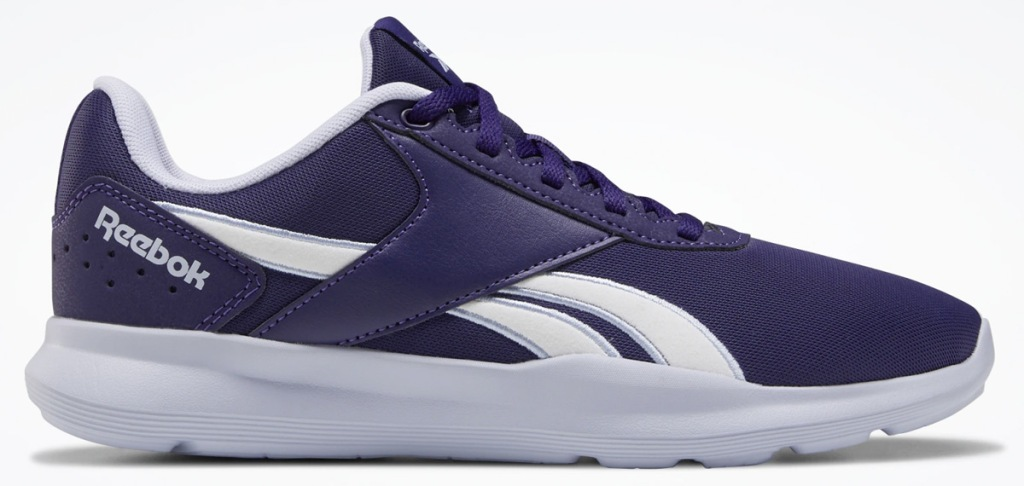 navy blue and white reebok shoe with white sole
