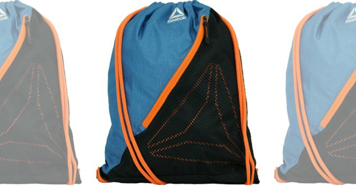 Blue, Black, and Orange cinch sackpack with small Reebok logo