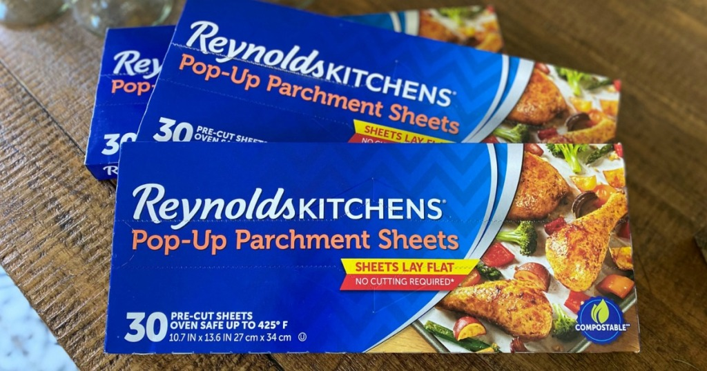 Reynolds Kitchen Parchment Sheets boxes on pantry counter