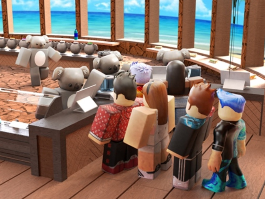 Roblox characters in line at a koala cafe