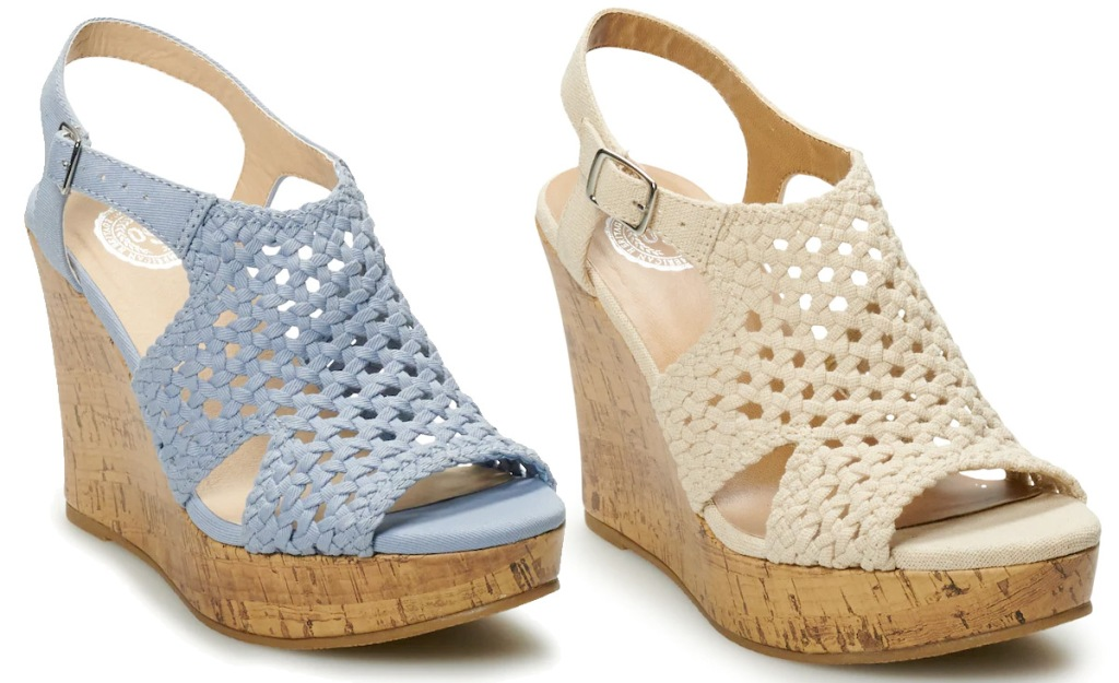 two pairs of wedge sandals in light blue and cream colors